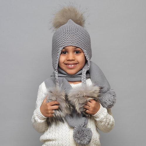 Baby Girls Boys Kids Unisex Bandana Gray Knitted Winter Spring Fall Scarf