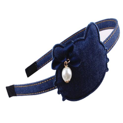Kitty Pearl Denim Headband
