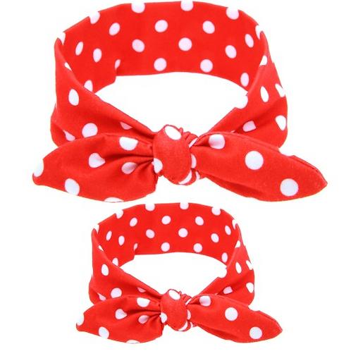Polka Dot Mommy & Me Tied Cotton Turban Headband Set