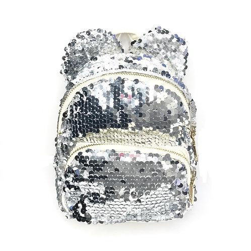Mini Silver Sequin Ears Backpack