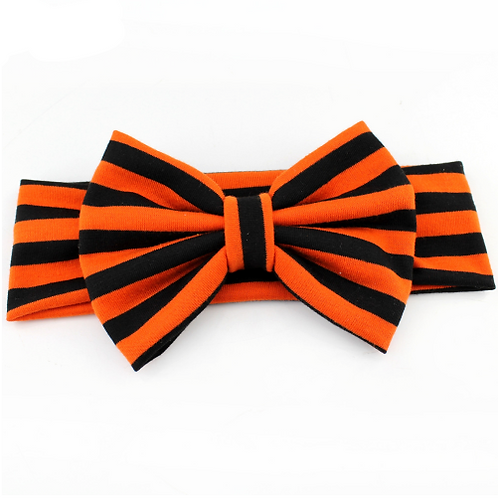 Black Orange Striped Bow Headband