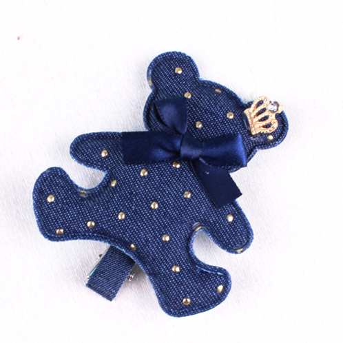 Studded Denim Teddy Bear Hair Clip