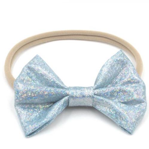 Glitter Metallic Bow Nylon Headband