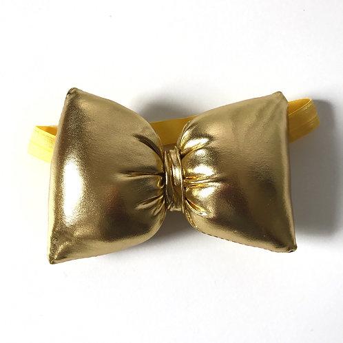 Metallic Pillow Bow Elastic Headband