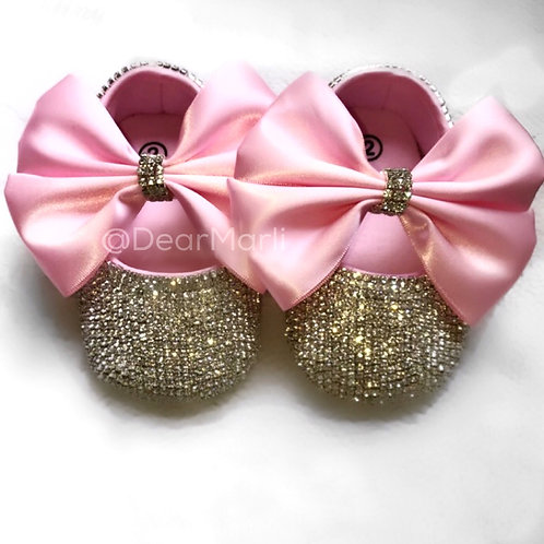Crystal Bow Baby Shoe