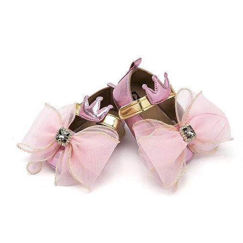 Ribbon Bow Rhinestone Strapped Shoe