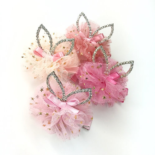 Rhinestone Tulle Ears Hair Clip - Set Of 4