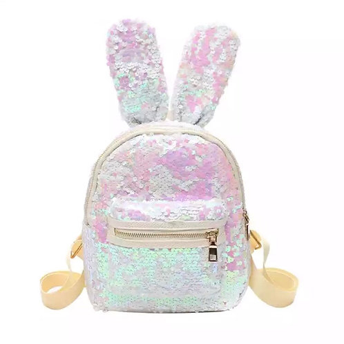 White Sequin Rabbit Ears Backpack