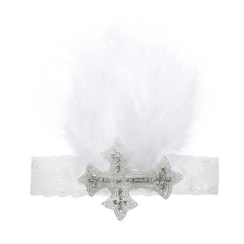 Cross Embellished Feather Lace Headband