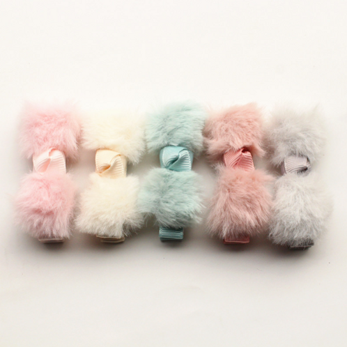 Bow Fur Hair Clip - Set Of 5