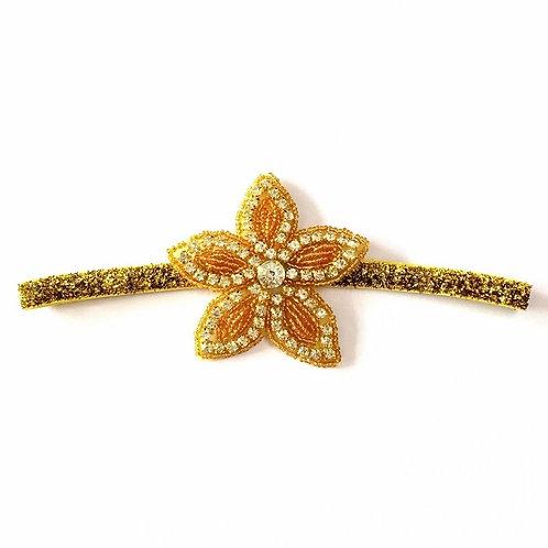 Crystal Gold Starburst Shimmer Elastic Headband