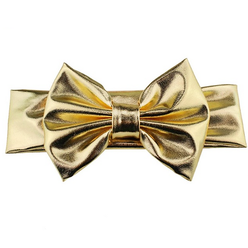 Solid Metallic Bow Turban