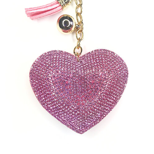 Rhinestone Heart Keychain