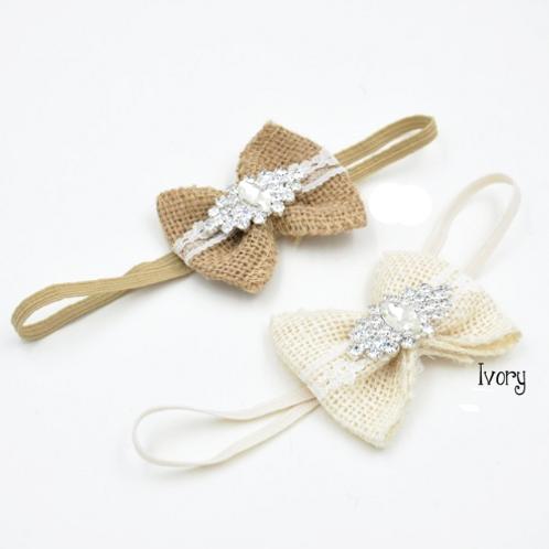 Mini Burlap Bow Rhinestone Embellished Elastic Headband