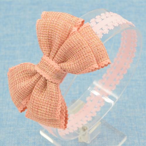 Baby Girls Kids Blue Salmon Pink Burlap Bow Elastic Headband