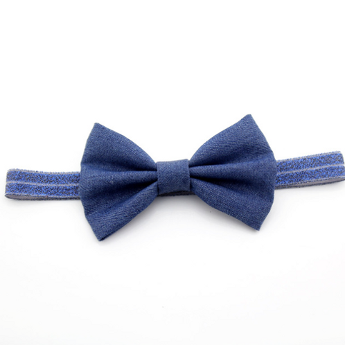 Denim Bow Elastic Headband