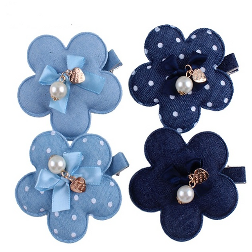 Denim Pearl Embellished Flower Hair Clip