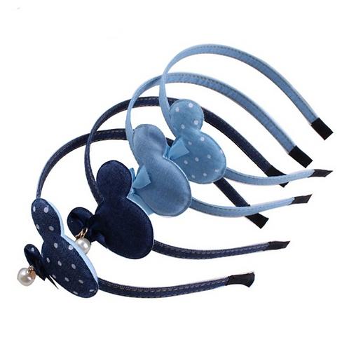 Denim Pearl Minnie Headband