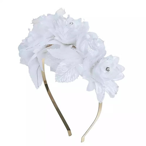 White Iridescent Rose Headband