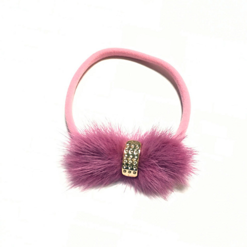 Gold Embellished Min Fur Bow Nylon Headband