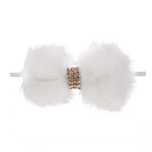 Faux Fur Embellished Bow Elastic Headband
