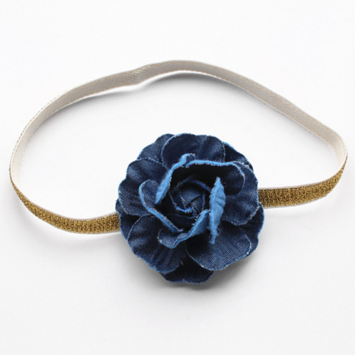 Denim Flower Gold Elastic Headband
