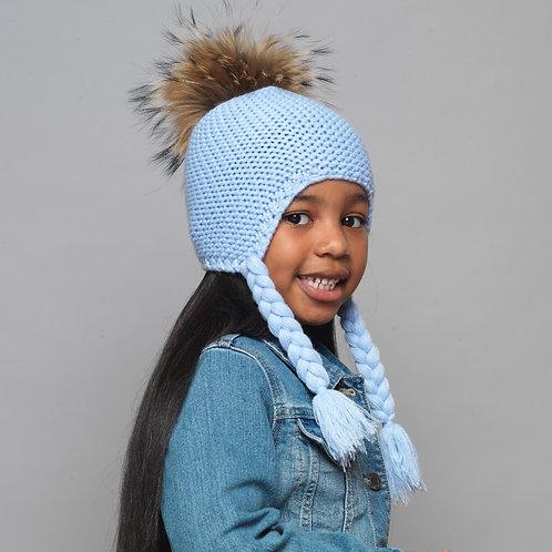Baby Girls Kids Blue Knitted Fur Pom Pom Winter Spring Fall Hat