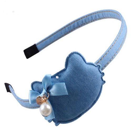 Kitty Pearl Denim Headband