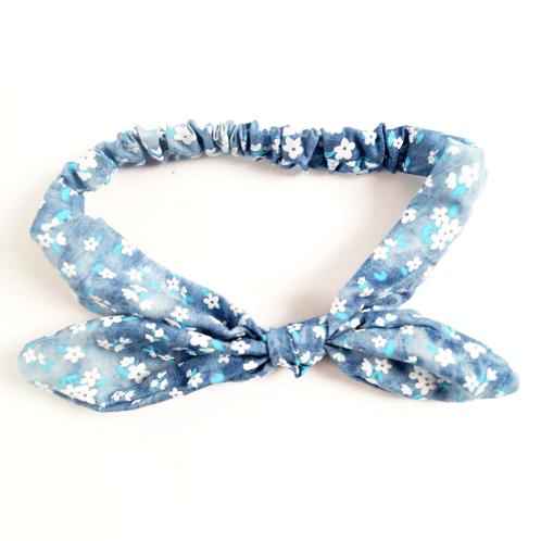 Denim Floral Print Tied Headband