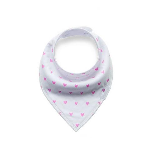 Infant Baby Girls Kids Mini Pink Hearts Bandana Bib