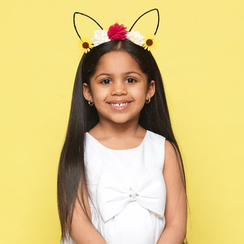 Floral Chiffon Cat Ear Headband
