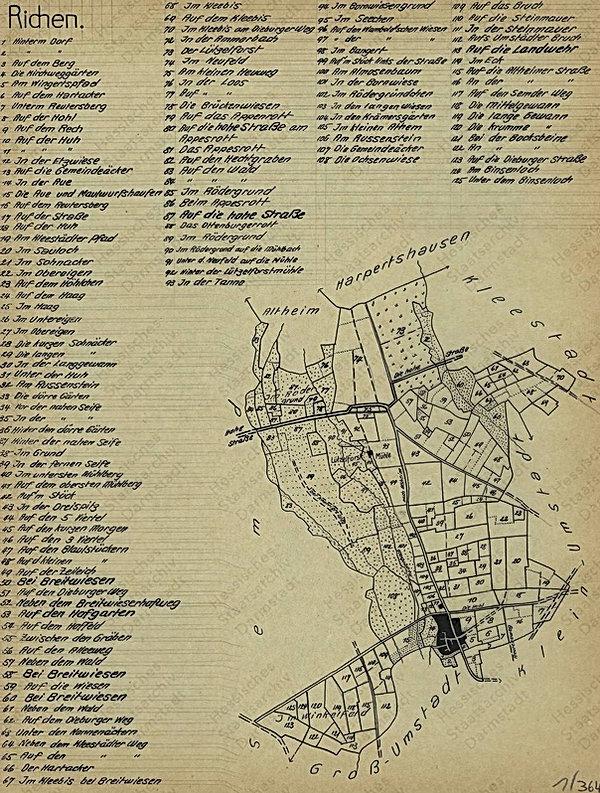 Gewannkarte der Gemarkung Rich