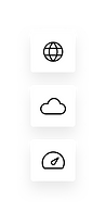 Icons representing the world, a cloud and a speedometer.