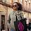 Thumbnail: Tote Bag - Black and pink/soft purple