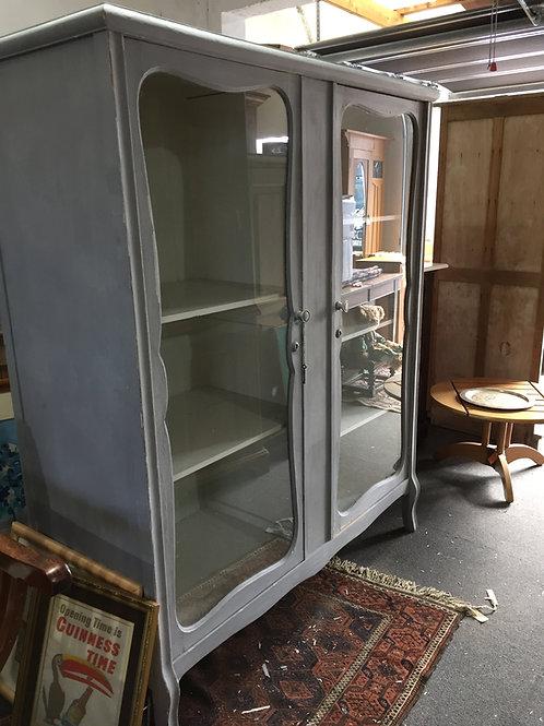 Grey Glass Fronted Five Shelf Cupboard