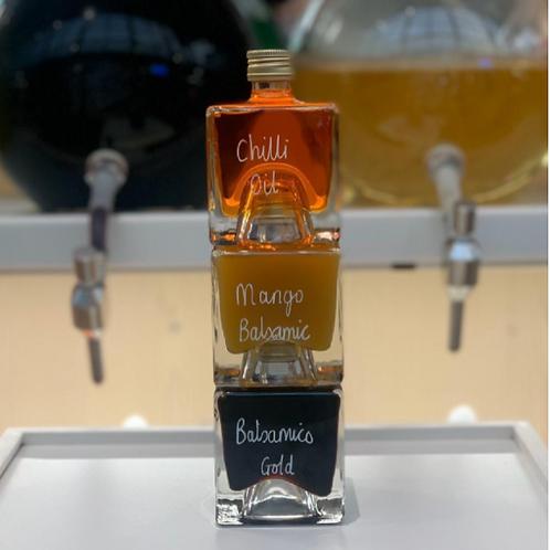 Chilli Oil, Mango Balsamic, Raspberry Balsamic Gift bottles