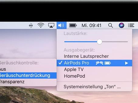AirPods Pro Geräuschunterdrückung am Mac einstellen