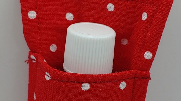 Red with mini dot hand sanitizer holder