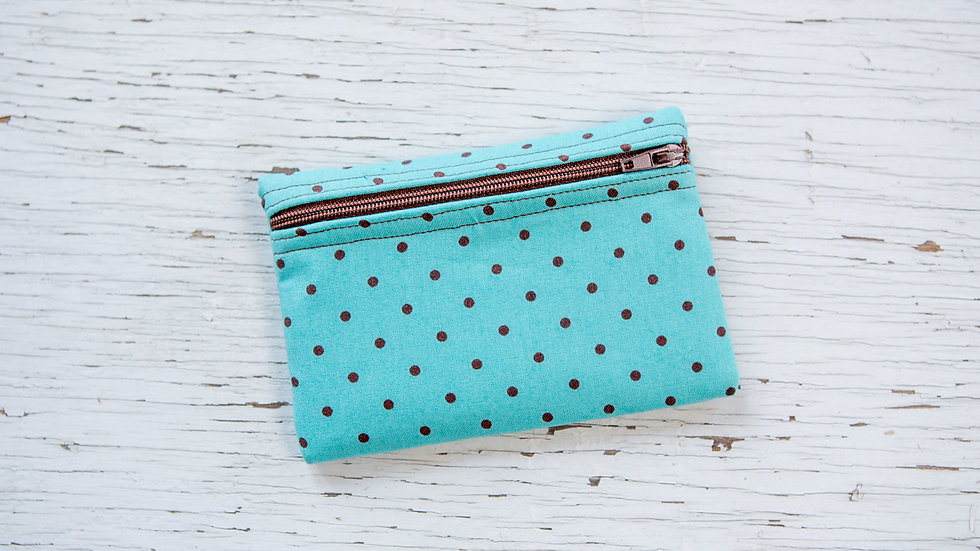 Brown Dots on Aqua EO Pouch