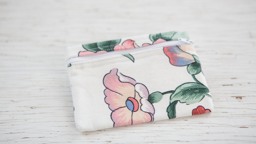 Flowers in rose, blue and cream EO Pouch