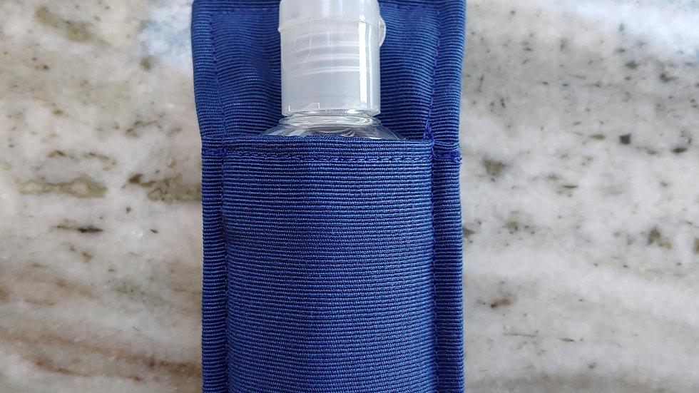 Solid blue hand sanitizer holder