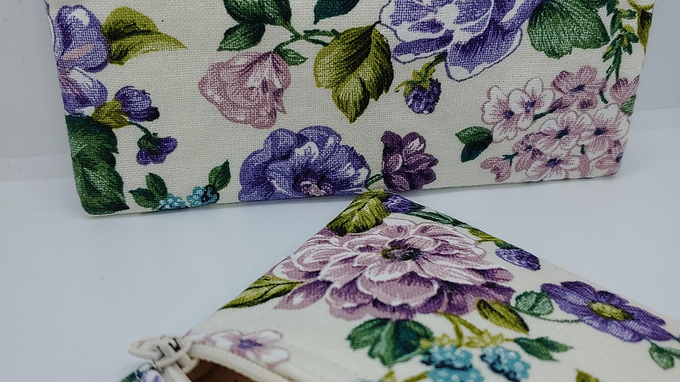 Shades of purple flowers pouch