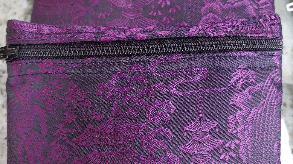 Purple silk pouch from Japanese Kimona