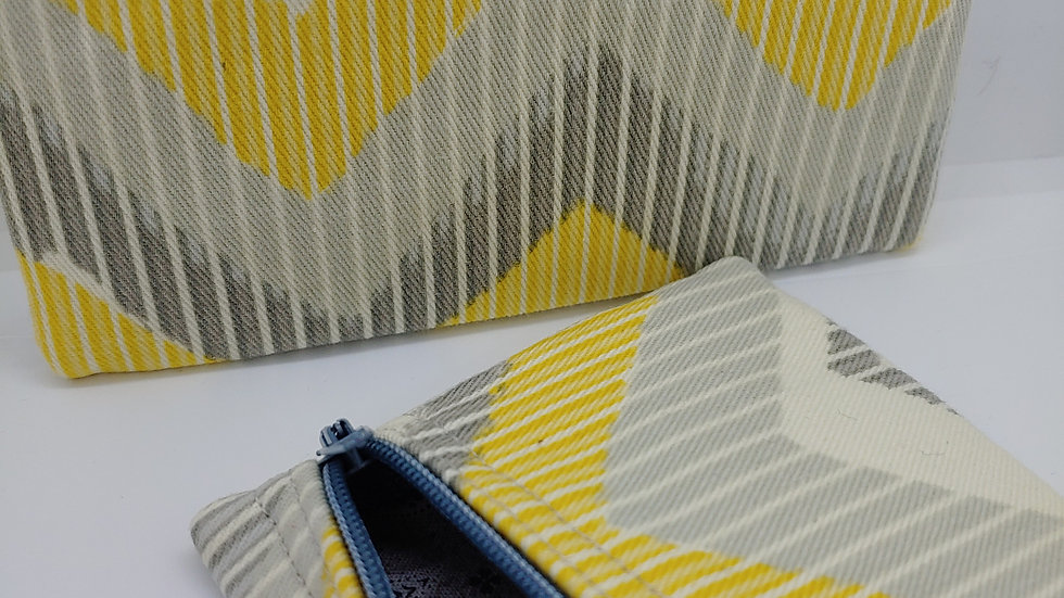 Yellow and gray chevron pouch