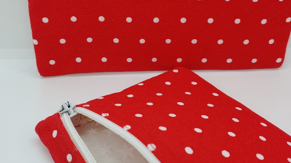 Red and mini white polka dots