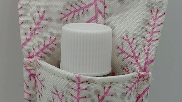 Pink and gray hand sanitizer holder