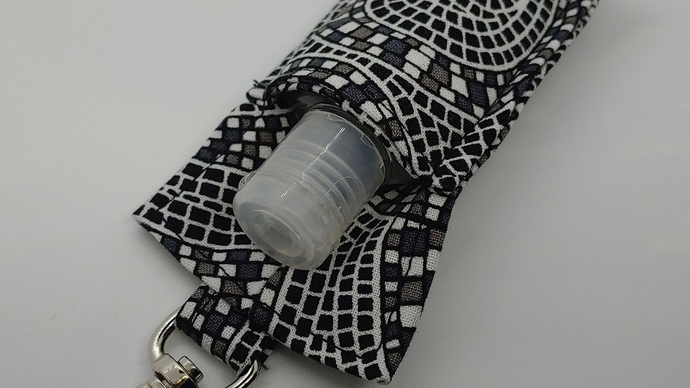 Black gray and white mosaic hand sanitizer holder
