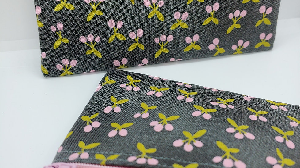 Pink flower buds on gray pouch