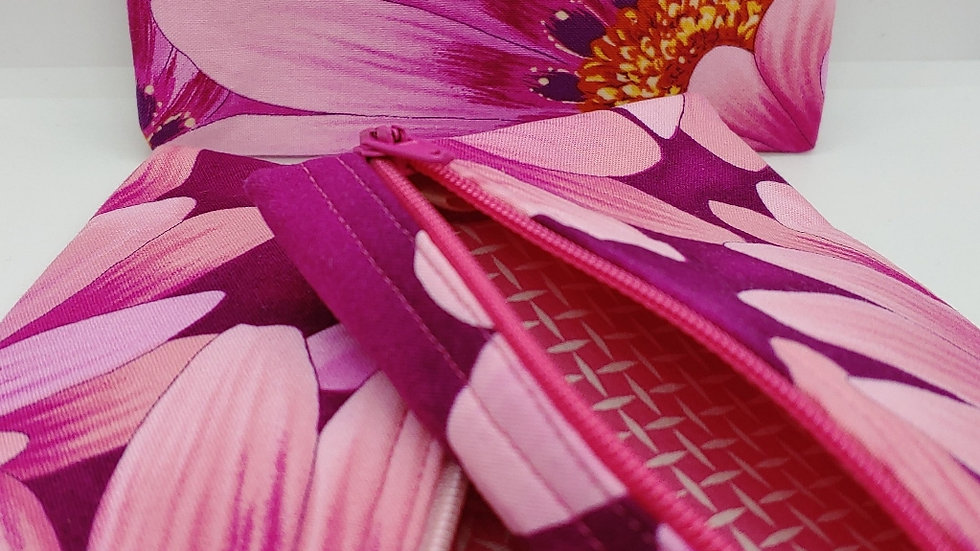 Pink and purple flowered pouch