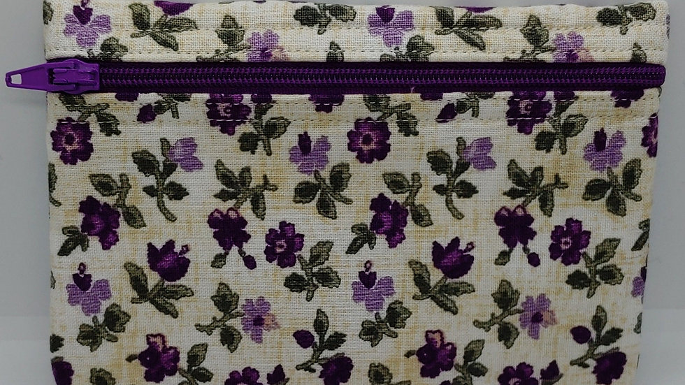 Violets on cream pouch